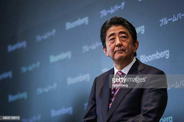 Shinzo Abe Japan's prime minister pauses while speaking during the Japan Finance Forum event in New York US on Tuesday Sept 29 2015 Abe pledged to...