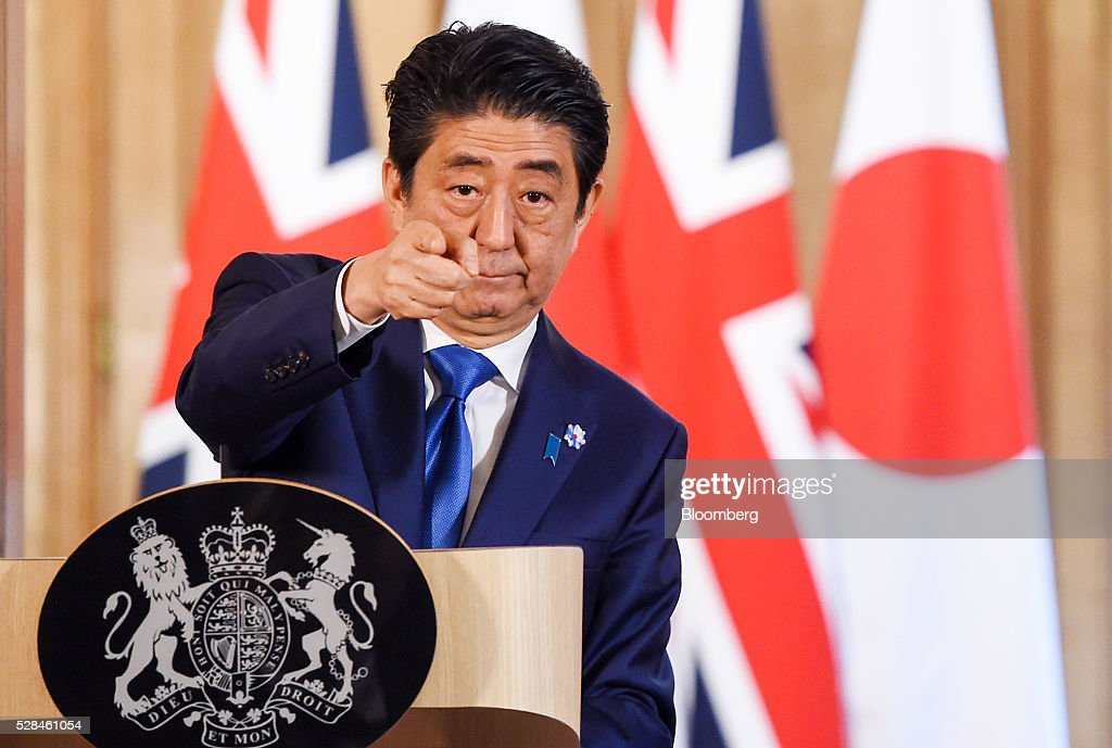 <a gi-track='captionPersonalityLinkClicked' href=/galleries/search?phrase=Shinzo+Abe&family=editorial&specificpeople=559017 ng-click='$event.stopPropagation()'>Shinzo Abe</a>, Japan's primer minister, gestures during a joint news conference with David Cameron, U.K. prime minister, inside number 10 Downing Street in London, U.K., on Thursday, May 5, 2016. Abe is discussed Japanese-European relations at the news conference. Photographer: Facundo Arrizabalaga/Pool via Bloomberg