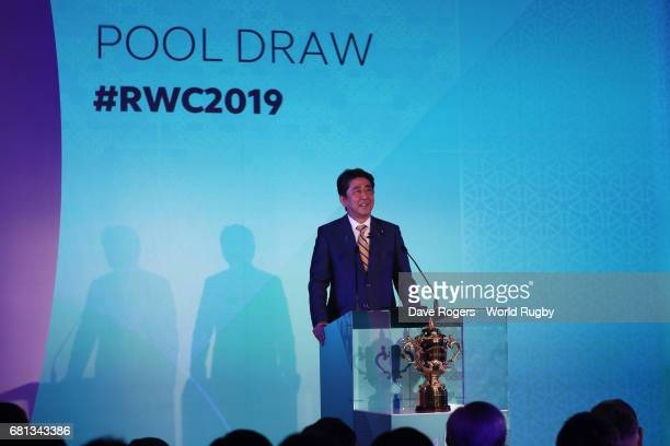 Shinzo Abe Prime Minister of Japan addresses the audience during the Rugby World Cup 2019 Pool Draw at the Kyoto State Guest House on May 10 2017 in...