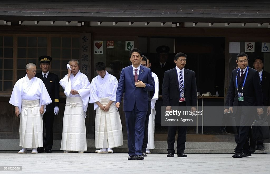 Shinzo Abe, Prime Minister of Japan prepares to receive G7 leaders in front of Uji-bashi Bridge at Ise Shrine as an official welcome event of the Summit on May 26, 2016, in Ise, Mie Prefecture, Japan. G7 Summit 2016 is held in Ise-Shima in Mie Prefecture in Japan during two days from May 26 to 27, 2016 as Japan assumed the Presidency of the Summit.