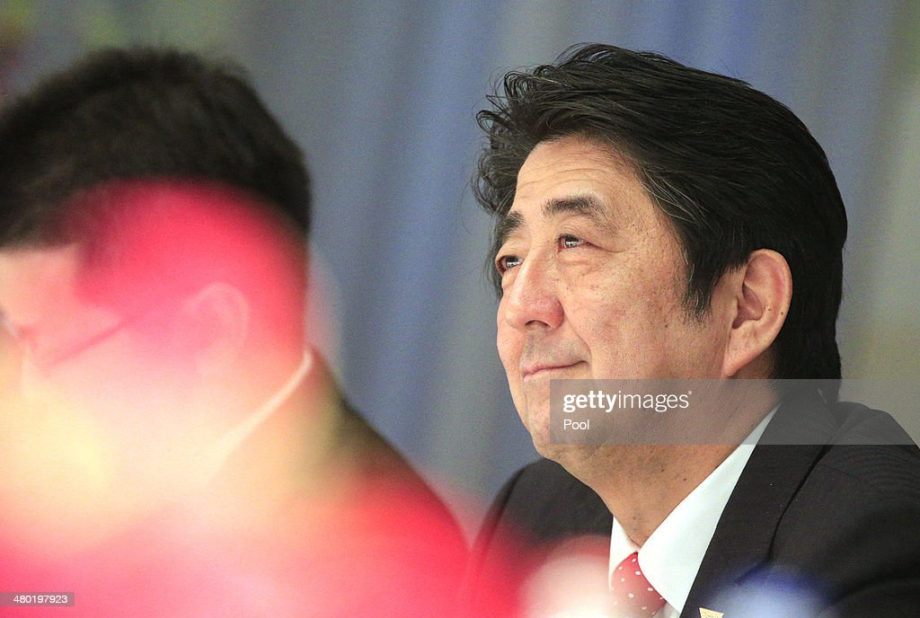 <a gi-track='captionPersonalityLinkClicked' href=/galleries/search?phrase=Shinzo+Abe&family=editorial&specificpeople=559017 ng-click='$event.stopPropagation()'>Shinzo Abe</a> (R), Prime Minister of Japan smiles during a meeting with <a gi-track='captionPersonalityLinkClicked' href=/galleries/search?phrase=Mark+Rutte&family=editorial&specificpeople=4509362 ng-click='$event.stopPropagation()'>Mark Rutte</a>, Prime Minister of the Netherlands, ahead of the 2014 Nuclear Security Summit on March 23, 2014 in Haarlemmermeer, Netherlands. The Nuclear Security Summit, held March 24-25, will be attended by world leaders and is aimed at preventing nuclear terrorism.