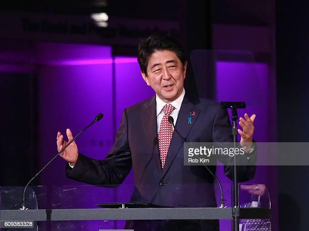 Shinzo Abe Prime Minister of Japan speaks at HeForShe 2nd Anniversary Reception at Museum of Modern Art on September 20 2016 in New York City