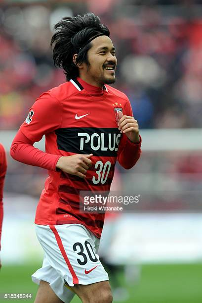 Shinzo Koroki of Urawa Red Diamonds celebrates scoring a goal during the JLeague match between Urawa Red Diamonds and Avispa Fukuoka at the Saitama...