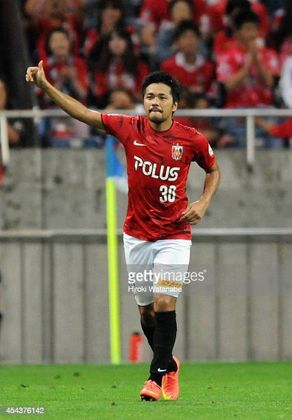 Shinzo Koroki of Urawa Red Diamonds celebrates scoring his team's second goal during the JLeague match between Urawa Red Diamonds and Omiya Ardija at...