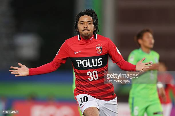 Shinzo Koroki of Urawa Red Diamonds celebrates scoring his team's second goal during the JLeague match between Shonan Bellmare and Urawa Red Diamonds...