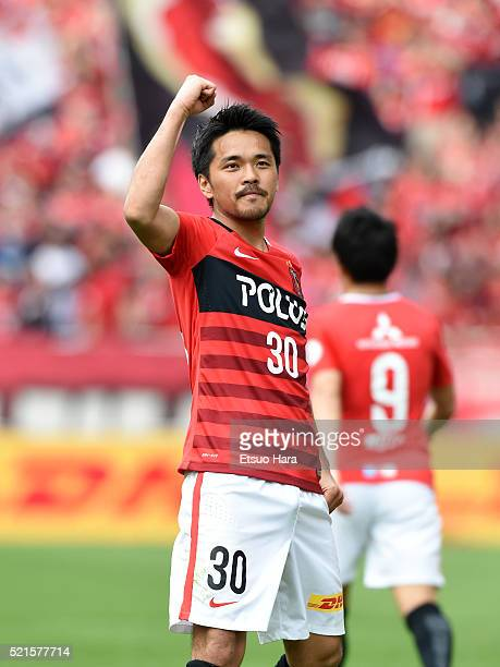 Shizo Koroki of Urawa Red Diamonds celebrates scoring his team's second goal during the JLeague match between Urawa Red Diamonds and Vegalta Sendai...