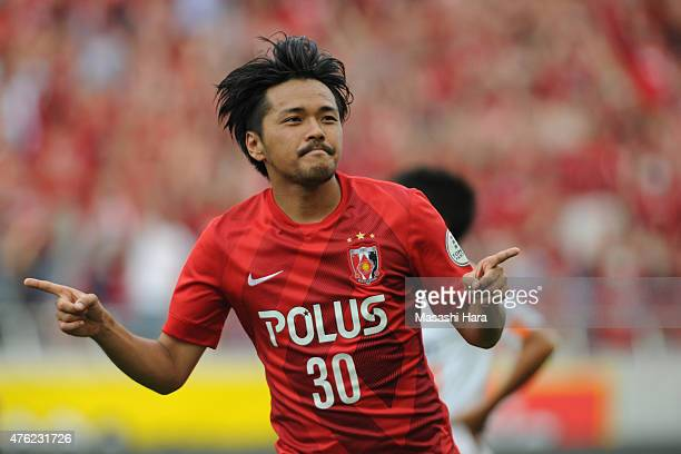 Shinzo Koroki of Urawa Red Diamonds celebrates the first goal during the JLeague match between Urawa Red Diamonds and Shimizu SPulse at Saitama...