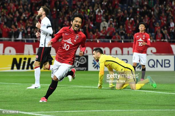 Shinzo Koroki of Urawa Red Diamonds celebrates the sixth goal during the AFC Champions League Group F match between Urawa Red Diamonds and Western...