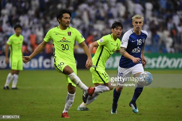 Shinzo Koroki of Urawa Red Diamonds in action during the AFC Champions League Final 2017 first leg between AlHilal and Urawa Red Diamonds at King...