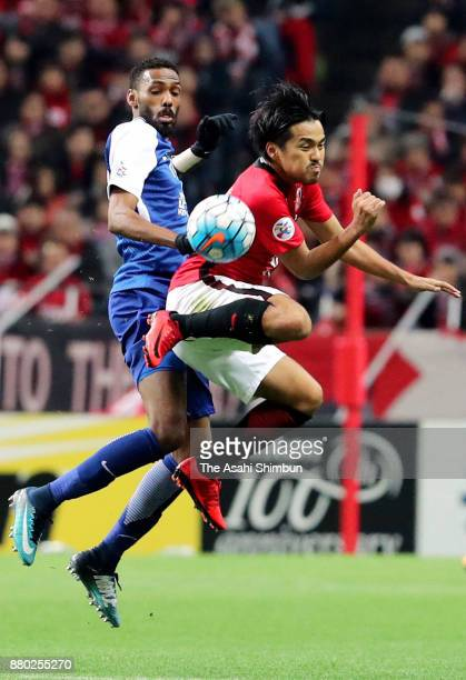 Shinzo Koroki of Urawa Red Diamonds in action during the AFC Champions League Final second leg match between Urawa Red Diamonds and AlHilal at...