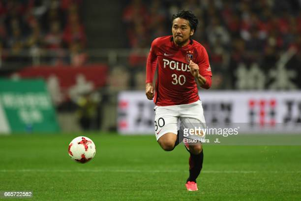 Shinzo Koroki of Urawa Red Diamonds in action during the JLeague J1 match between Urawa Red Diamonds and Vegalta Sendai at Saitama Stadium on April 7...