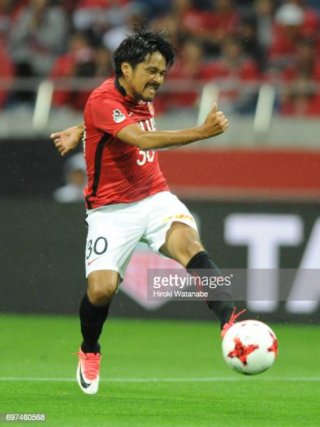 Shinzo Koroki of Urawa Red Diamonds in action during the JLeague J1 match between Urawa Red Diamonds and Jubilo Iwata at Saitama Stadium on June 18...