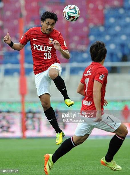 Shinzo Koroki of Urawa Red Diamonds in action during the JLeague match between Urawa Red Diamonds and FC Tokyo at Saitama Stadium on May 3 2014 in...