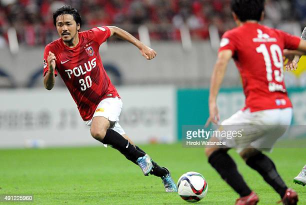 Shinzo Koroki of Urawa Red Diamonds in action during the JLeague match between Urawa Red Diamonds and Sagan Tosu at Saitama Stadium on October 3 2015...
