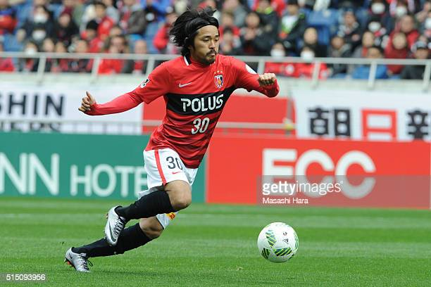 Shinzo Koroki of Urawa Red Diamonds in action during the JLeague match between Urawa Red Diamonds and Avispa Fukuoka at the Saitama Stadium on March...