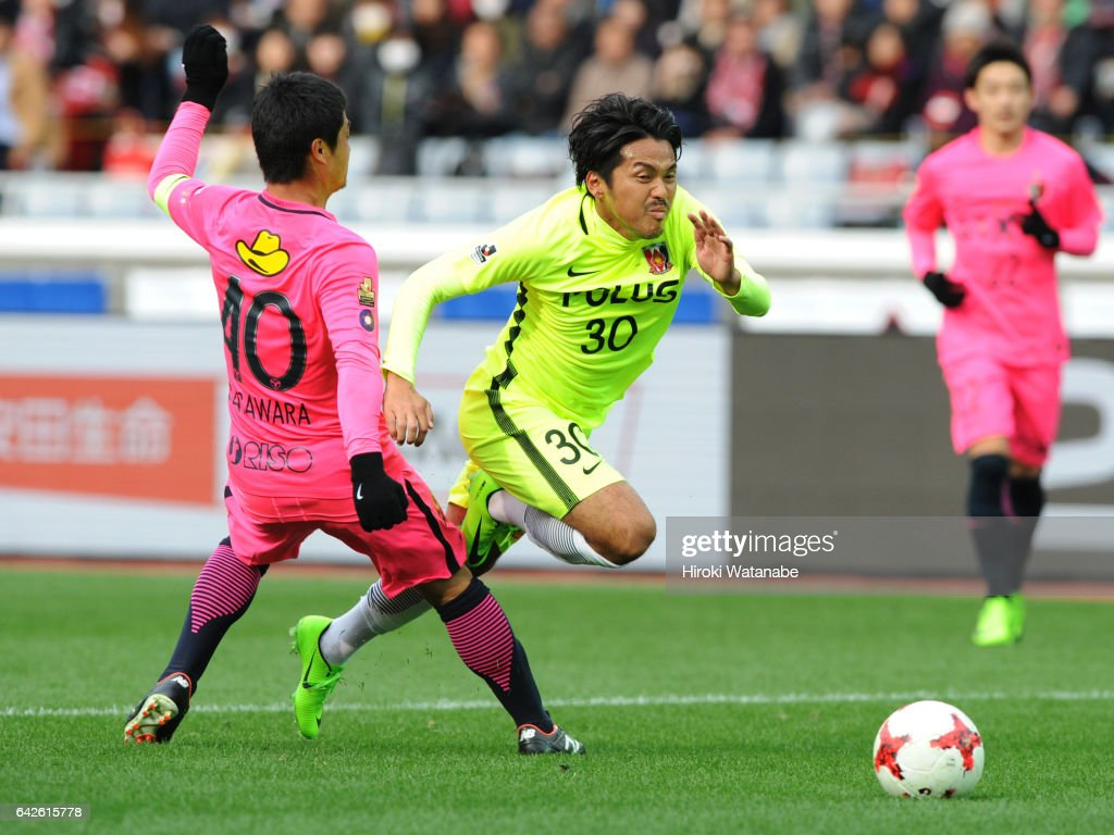 Shinzo Koroki of Urawa Red Diamonds in action during the Xerox Super Cup match between Kashima Antlers and Urawa Red Diamonds at Nissan Stadium on February 18, 2017 in Yokohama, Kanagawa, Japan.