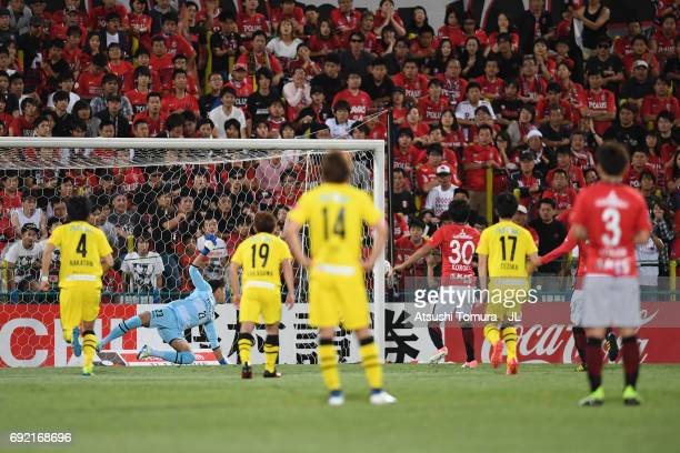 Shinzo Koroki of Urawa Red Diamonds misses the penalty kick during the JLeague J1 match between Kashiwa Reysol and Urawa Red Diamonds at Hitachi...