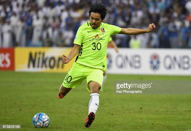 Shinzo Koroki of Urawa Red Diamonds shoots at goal during the AFC Champions League Final 2017 first leg between AlHilal and Urawa Red Diamonds at...