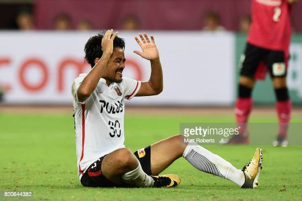 Shinzo Koroki of Urawa Red Diamonds shows frustration during the JLeague J1 match between Cerezo Osaka and Urawa Red Diamonds at Yanmar Stadium Nagai...