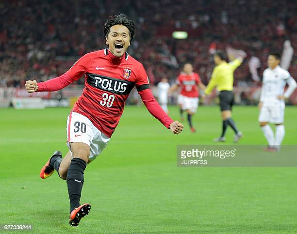 Shinzo Koroki of Urawa Reds celebrates his goal during the JLeague Championship final match against Kashima Antlers in Saitama on December 3 2016 /...