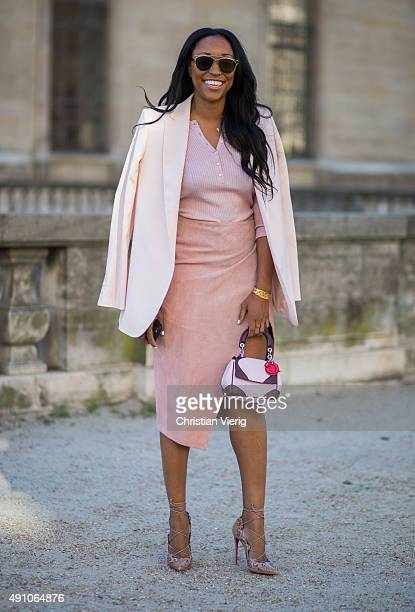 Shiona Turini wearing a Dior bag during the Paris Fashion Week Womenswear Spring/Summer 2016 on October 2 2015 in Paris France