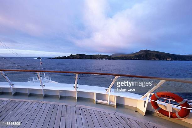 Ship approaching Cape Horn, View from MS Europa, Cape Horn.