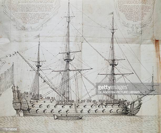 Ship at anchor engraving from the Atlas de Colbert France 17th century