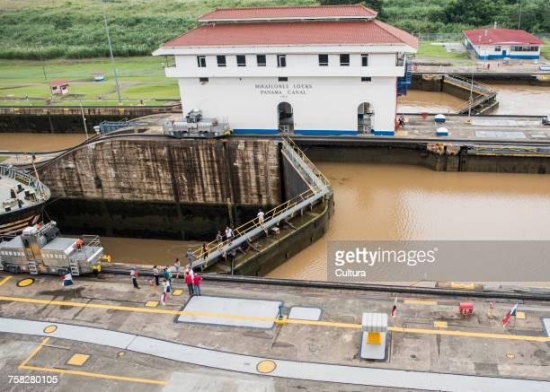 Ship at canal lock on the Panama canal, Miraflores, Panama