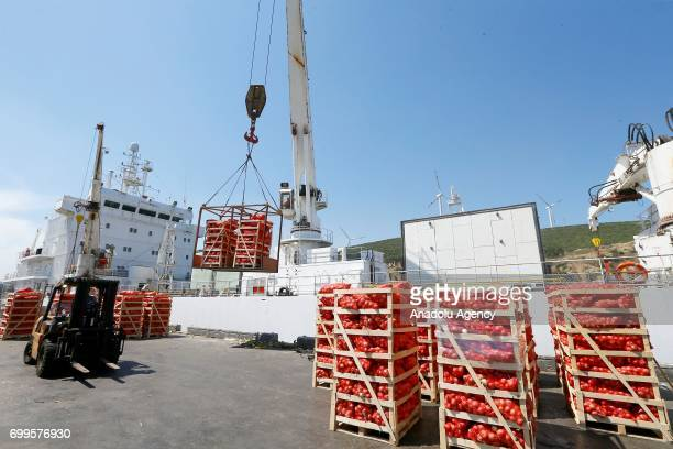 A ship carrying 4000 tons of food for beleaguered Qatar prepare to depart Turkey in Izmir Turkey on June 22 2017 The vessel carrying dry food fruits...