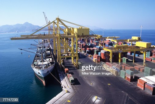 Ship Docking at Cargo Terminal : Stock Photo