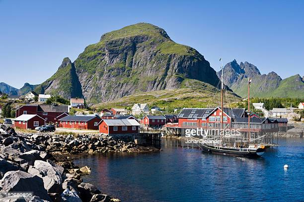 Ship Entering Harbour in Lofoten