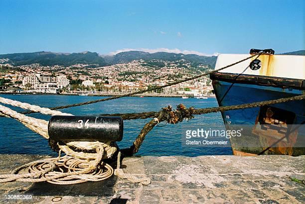 Ship halyards harbor Funchal Madeira Portugal