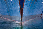 Ship hull in the water, Antarctica. The prow.