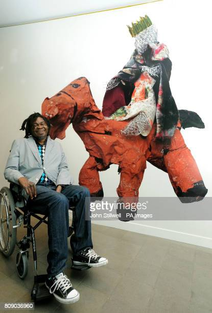 'Ship in a Bottle' artist Yinka Shonibare with the second place artwork titled 'Boudicca' which was produced by Nimah Long and Danniella Davidson for...