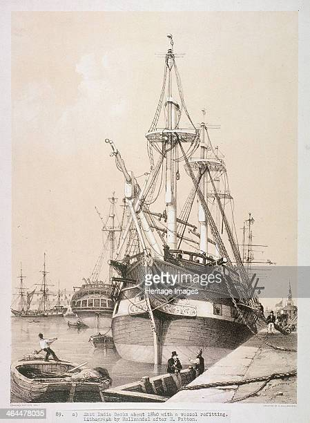 Ship in the East India Docks London c1840 A large ship moored at the quay of the East India Docks A man in the foreground rows a smaller boat while...