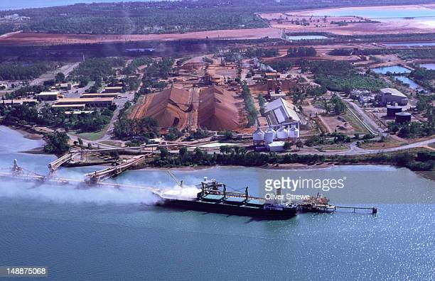 A ship is loaded at Lorim point, Weipa, where the world's largest deposits of bauxite are produced (the ore from which aluminium is processed)