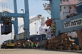 A ship named 'Lady Leyla' arrives at port of Ashdod as Turkish government sends Humanitarian aid to Gaza after TurkishIsraeli reconciliation deal in...