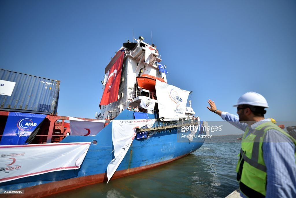 A ship named 'Lady Leyla' is seen as Turkish government sends Humanitarian aid to Gaza after Turkish-Israeli reconciliation deal, in Mersin, Turkey on July 1, 2016.