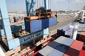 A ship named 'Lady Leyla' unloads aid materials to the port of Ashdod as Turkish government sends Humanitarian aid to Gaza after TurkishIsraeli...
