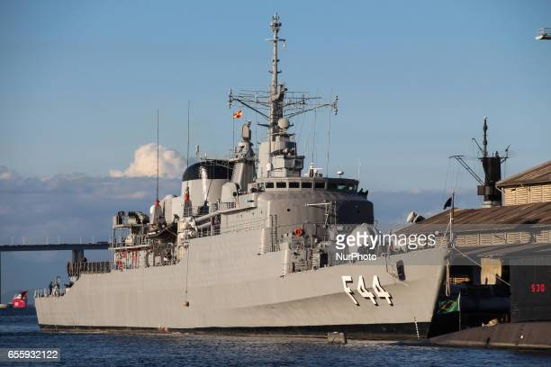 Ship of the Navy of Brazil performs maneuvers in the Bay of Guanabara The F44 frigate was built in Brazil and incorporated into the Brazilian Navy...