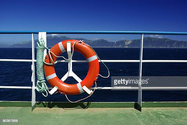 Ship railing with save circle flotation device