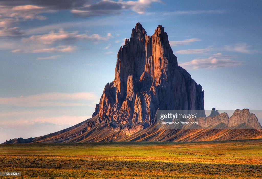 Ship rock mountain at sunset : Stock Photo