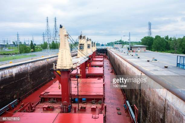 Ship Sailing Detroit Canal in Usa - Passing Lock