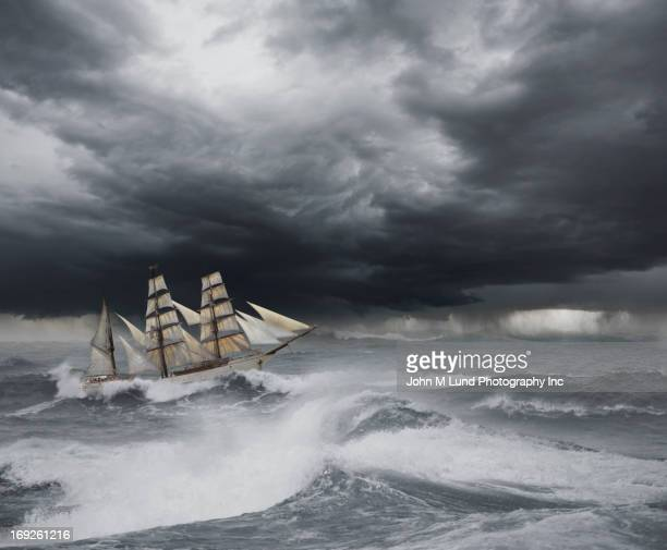Ship sailing on stormy seas
