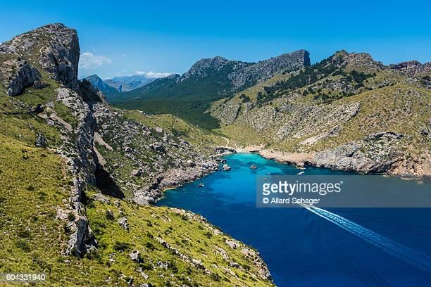 Ship sailing to bay in Cap Formentor Mallorca