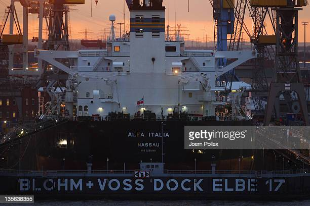 A ship stands in drydock for repairs at the Blohm Voss shipyards on December 12 2011 in Hamburg Germany A Blohm Voss spokesman confirmed earlier in...