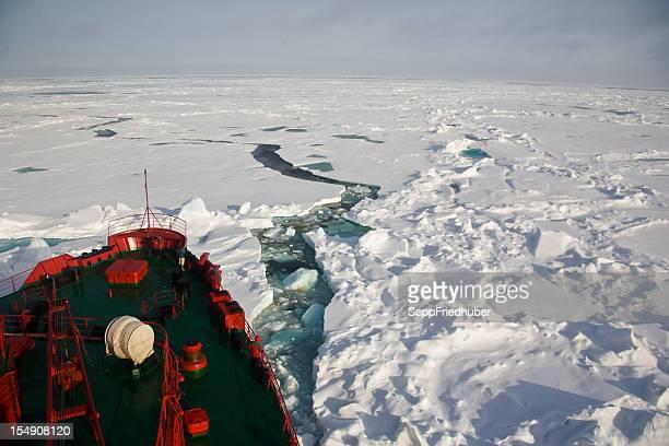 Ship trying to get through frozen Arctic Ocean
