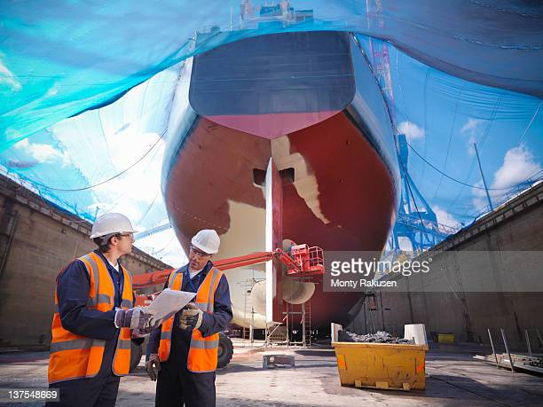 Shipbuilding in dry dock