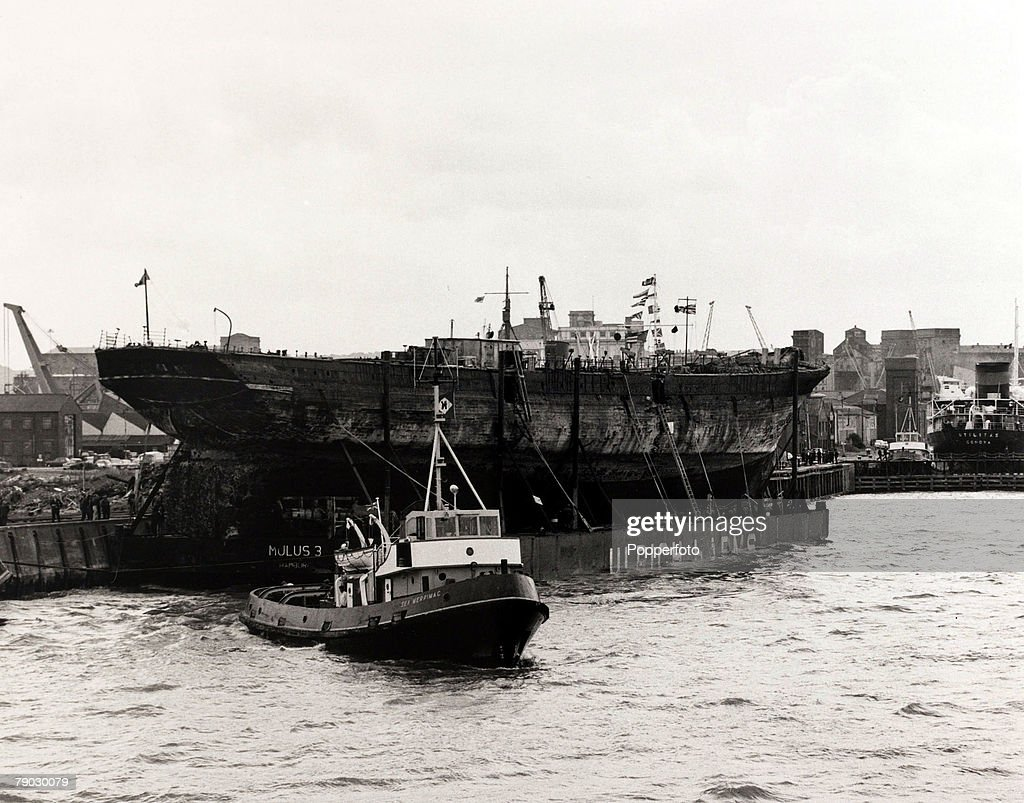 Shipping, Bristol, England, 23rd June 1970, The 'S,S, Great Britain', Brunel's historic steamship built in 1843 is towed into Avonmouth Docks where it is to be restored