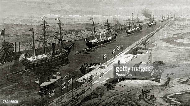 Shipping Ceremonies Illustration from the Illustrated London News from 1869 pic 1869 The opening of the Suez Canal showing the procession of ships